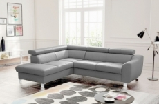 canapé d'angle en cuir italien de luxe 5 places astero, gris clair, angle gauche