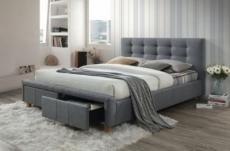lit double en tissu de qualité asti, gris, avec sommier à lattes, 160x200