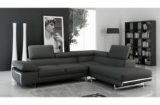 canapé d'angle aston en tout cuir haut de gamme italien vachette, noir, angle droit vu de face, idem à la photo