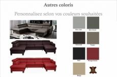 canapé d'angle convertible en cuir italien de luxe 7/8 places aston, couleur personnalisée, angle gauche