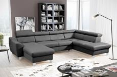 canapé d'angle convertible en cuir italien de luxe 7/8 places aston, gris foncé, angle droit