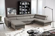 canapé d'angle convertible en cuir italien de luxe 7/8 places aston, gris clair, angle droit