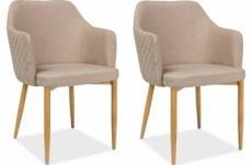 lot de 2 chaises astona en tissu de qualité, couleur beige