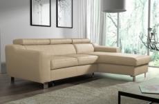 canapé d'angle convertible en cuir italien de luxe 5 places astoria, beige, angle droit