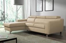 canapé d'angle convertible en cuir italien de luxe 5 places astoria, beige, angle gauche