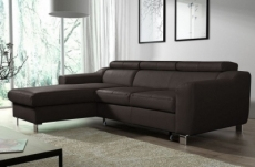 - canapé d'angle convertible en cuir italien de luxe 5 places astoria, chocolat, angle gauche