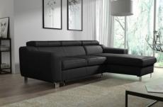 canapé d'angle convertible en cuir italien de luxe 5 places astoria, noir, angle droit
