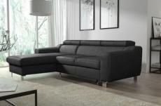 - canapé d'angle convertible en cuir italien de luxe 5 places astoria, noir, angle gauche