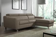 canapé d'angle convertible en cuir italien de luxe 5 places astoria, taupe, angle droit