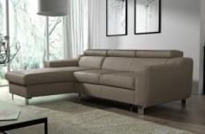 canapé d'angle convertible en cuir italien de luxe 5 places astoria, taupe, angle gauche