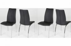 lot de 4 chaises astria en cuir artificiel, noir