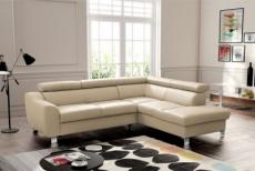 canapé d'angle convertible en cuir italien de luxe 5 places astrid, beige, angle droit
