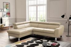 canapé d'angle en cuir italien de luxe 5 places astrido, beige, angle gauche