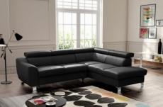 canapé d'angle convertible en cuir italien de luxe 5 places astrid, noir, angle droit