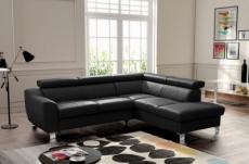 - canapé d'angle en cuir italien de luxe 5 places astrido, noir, angle droit