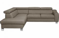 - canapé d'angle en cuir italien de luxe 5 places astero, taupe, angle gauche