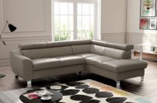canapé d'angle convertible en cuir italien de luxe 5 places astrid, taupe, angle droit