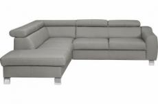 canapé d'angle en cuir italien de luxe 5 places astrido, gris clair, angle gauche
