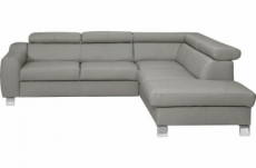 canapé d'angle en cuir italien de luxe 5 places astrido, gris clair, angle droit