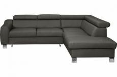 canapé d'angle convertible en cuir italien de luxe 5 places astrid, gris foncé, angle droit