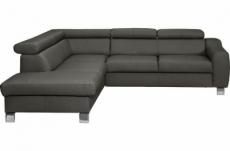 canapé d'angle en cuir italien de luxe 5 places astrido, gris foncé, angle gauche