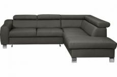 canapé d'angle en cuir italien de luxe 5 places astrido, gris foncé, angle droit