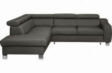 canapé d'angle convertible en cuir italien de luxe 5 places astrid, gris foncé, angle gauche