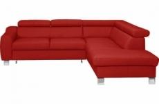 - canapé d'angle en cuir italien de luxe 5 places astrido, rouge, angle droit