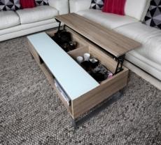 table basse design réglage en hauteur, en bois clair et verre, avena