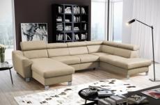 canapé d'angle convertible en cuir italien de luxe 7/8 places aston, beige, angle droit