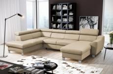 canapé d'angle convertible en cuir italien de luxe 7/8 places aston, beige, angle gauche