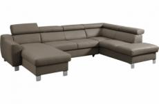 canapé d'angle convertible en cuir italien de luxe 7/8 places aston, taupe, angle droit