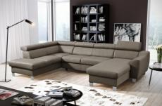 canapé d'angle convertible en cuir italien de luxe 7/8 places aston, taupe, angle gauche