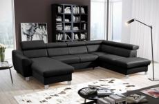 canapé d'angle en cuir italien de luxe 7/8 places astonia, noir, angle droit
