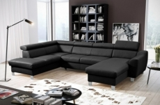 -canapé d'angle convertible en cuir italien de luxe 7/8 places aston, noir, angle gauche