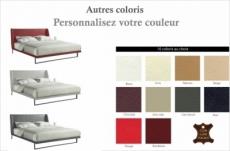 lit design en cuir italien de luxe azuro, avec sommier à lattes, couleur personnalisée 140x200