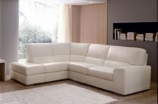 canapé d'angle barsano en cuir haut de gamme italien vachette. cuir prestige luxe. ecru. angle gauche vu de face