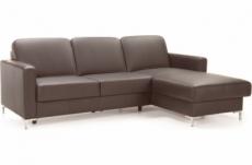 canapé d'angle convertible en 100% tout cuir italien de luxe 4/5 places basel, chocolat, angle droit