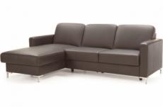canapé d'angle convertible en 100% tout cuir italien de luxe 475 places basel, chocolat, angle gauche