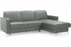 canapé d'angle convertible en 100% tout cuir italien de luxe 4/5 places basel, gris foncé, angle droit