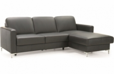 canapé d'angle convertible en 100% tout cuir italien de luxe 4/5 places basel, noir, angle droit