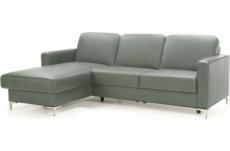 canapé d'angle convertible en 100% tout cuir italien de luxe 4/5 places basel, gris foncé, angle gauche