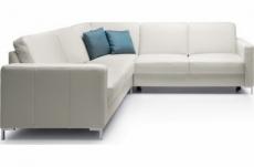 - canapé d'angle convertible en 100% tout cuir italien de luxe 5/6 places bastide, blanc cassé, angle gauche