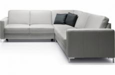 canapé d'angle convertible en 100% tout cuir italien de luxe 5/6 places bastide, gris clair, angle droit