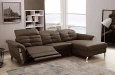 canapé d'angle avec un relax électrique en cuir de buffle italien de luxe 5 places beaurelax chocolat, angle droit
