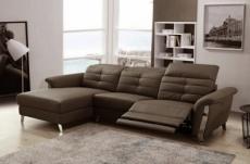 - canapé d'angle avec un relax électrique en cuir de buffle italien de luxe,  5 places beaurelax chocolat, angle gauche,  pouf offert