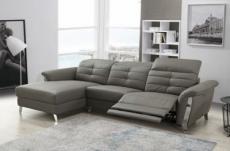 - canapé d'angle avec un relax électrique en cuir de buffle italien de luxe,  5 places beaurelax gris foncé, angle gauche