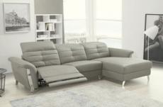canapé d'angle avec un relax électrique en cuir de buffle italien de luxe 5 places beaurelax gris clair, angle droit,  pouf offert