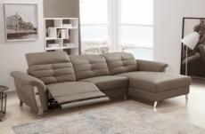 canapé d'angle avec un relax électrique en cuir de buffle italien de luxe 5 places beaurelax moka, angle droit