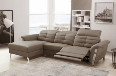 - canapé d'angle avec un relax électrique en cuir de buffle italien de luxe,  5 places beaurelax moka, angle gauche